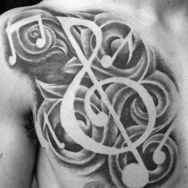 Mens Music Note Negative Space Shaded Black And Grey Chest Tattoos