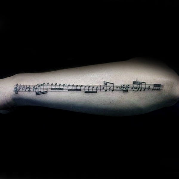 Mens Music Note Outerforearm Sheet Tattoo