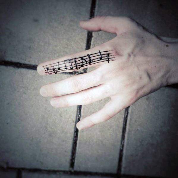 Mens Music Sheet Simple Finger Tattoo Designs