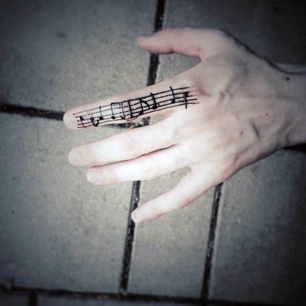 Mens Music Sheet Simple Finger Tattoo Designs