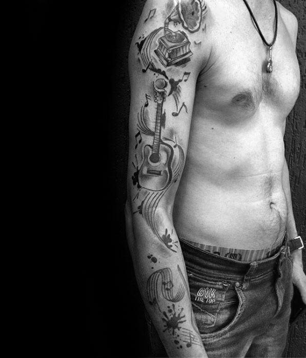 Mens Music Staff Tattoo Arm Sleeve Design Inspiration