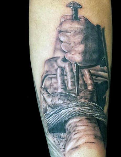 Mens Nail Through Hands Jesus Inner Forearm Christian Mens Tattoo