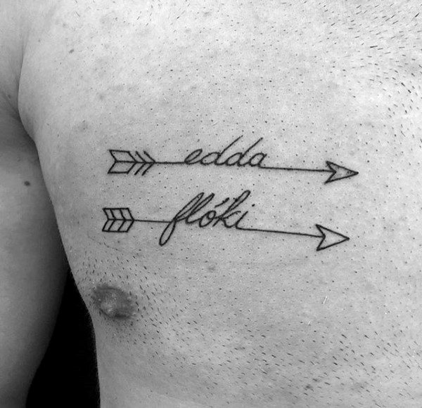 Mens Name With Arrows Chest Tattoo