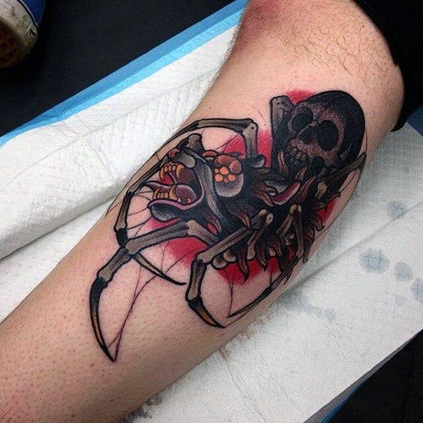 Mens Nasty Skull Spider Bicep Tattoos
