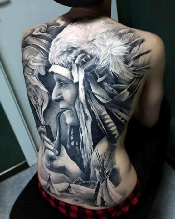 Mens Native American Indian Badass Realistic Back Tattoo