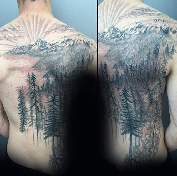 Mens Nature Forester Tree Back Tattoo With Rising Sun Design
