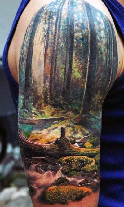 Men's Nature Half Sleeve Tattoo