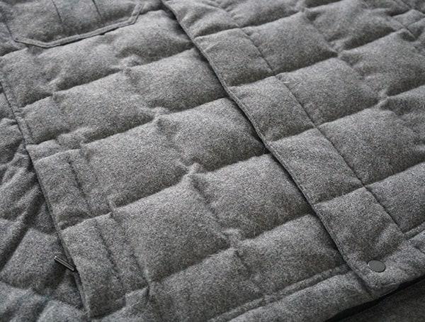 Mens Nau Utility Wool Down Jacket Baffle Detail