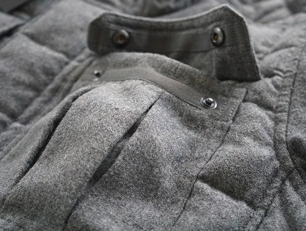 Mens Nau Utility Wool Down Jacket Front Pocket Open