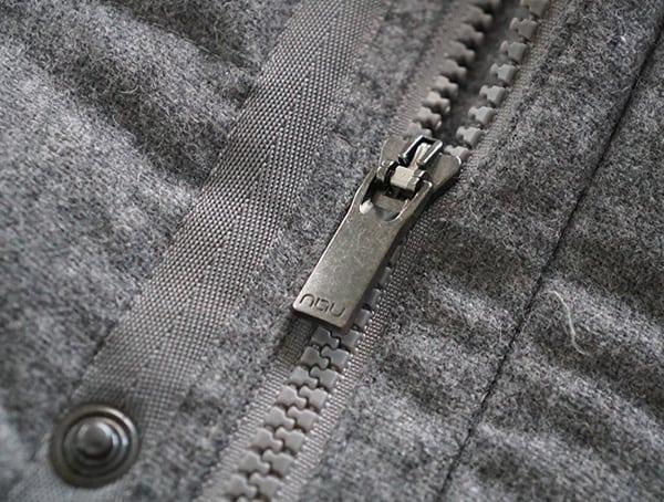 Mens Nau Utility Wool Down Jacket Main Center Chest Zipper