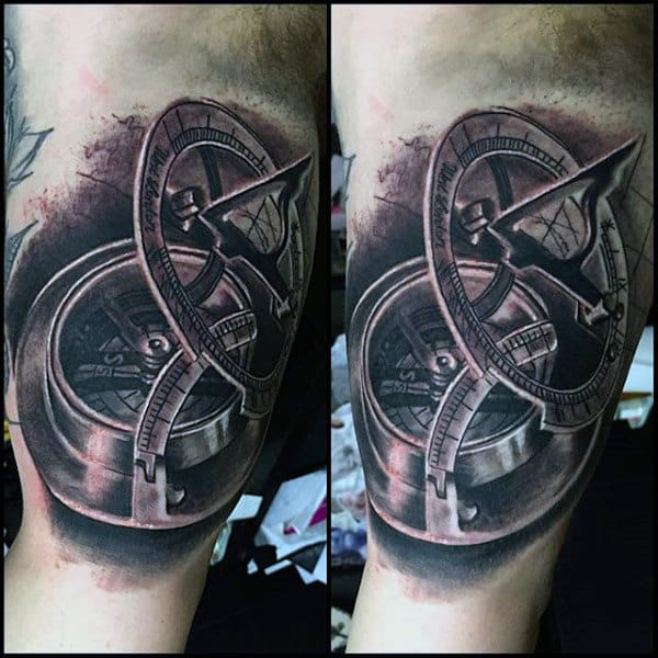 Mens Nautical Compass Inner Arm Tattoo