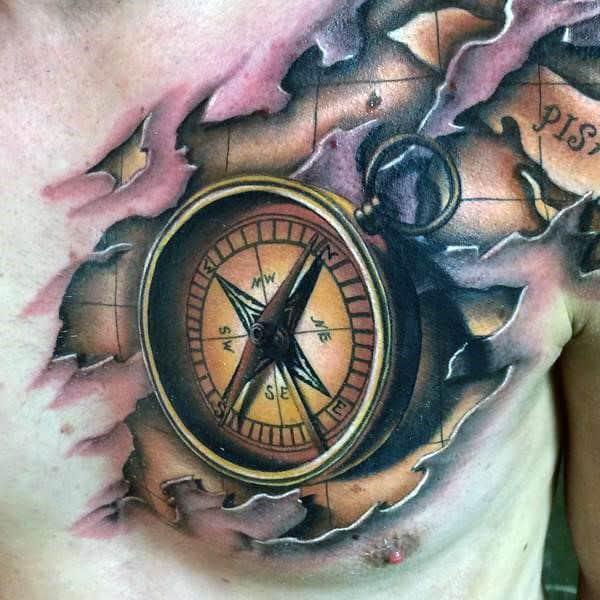 Men's 3D Nautical Compass Rose Tattoo