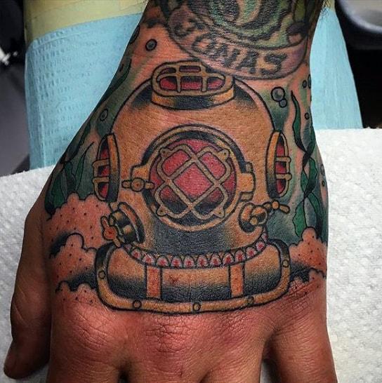 Mens Nautical Diver Mask Hand Tattoo