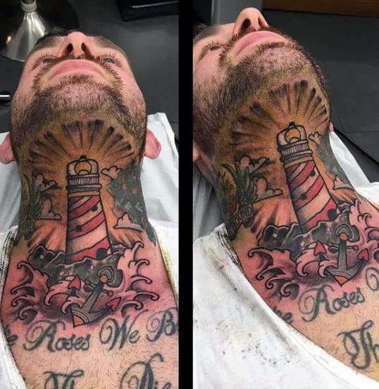 Mens Nautical Lighthouse Throat Tattoo Designs