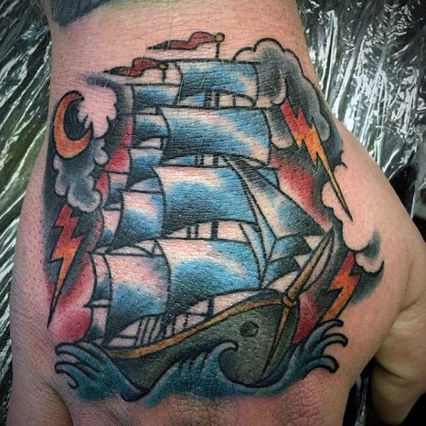 Mens Nautical Old School Sailing Ship Hand Tattoo Designs