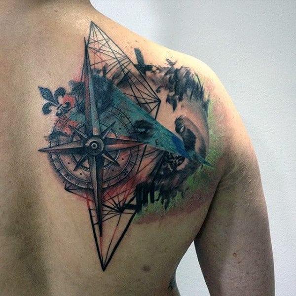 Mens Nautical Star With Panda Abstract Shoulder Blade Tattoos