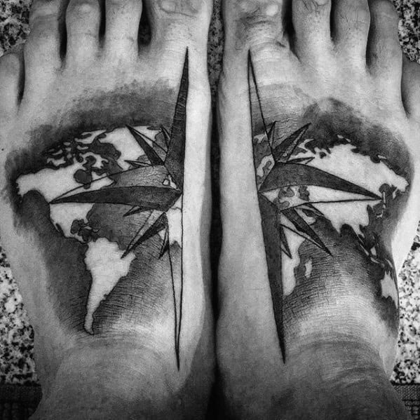 Mens Nautical Star World Map Wanderlust Foot Tattoo Designs