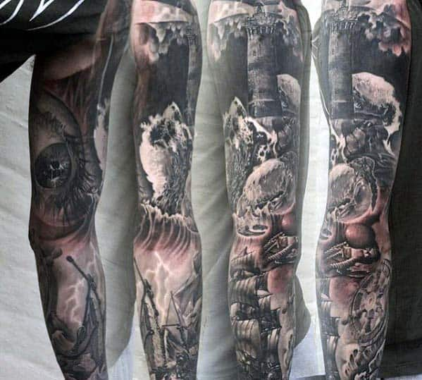 Mens Nautical Themed Amazing Full Sleeve Tattoos