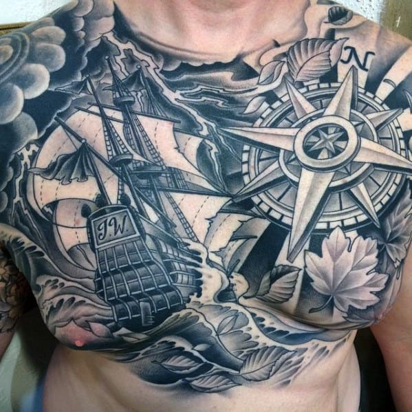 Mens Nautical Themed Clouds Chest Tattoos With 3d Design