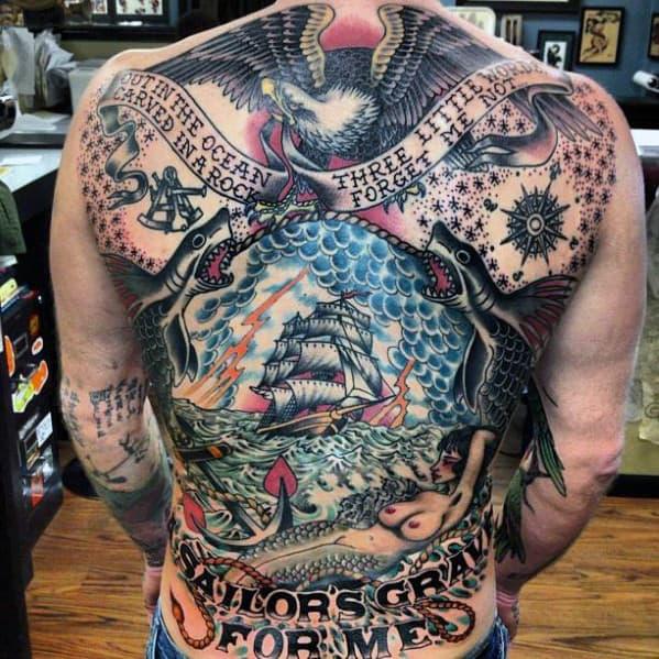 Mens Nautical Themed Eagle Back Tattoo