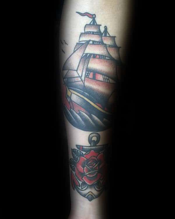 Mens Nautical Themed Traditional Rose And Ship Inner Forearm Tattoos
