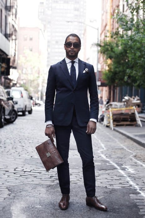 Mens Navy Blue Suit Brown Shoes Style Looks