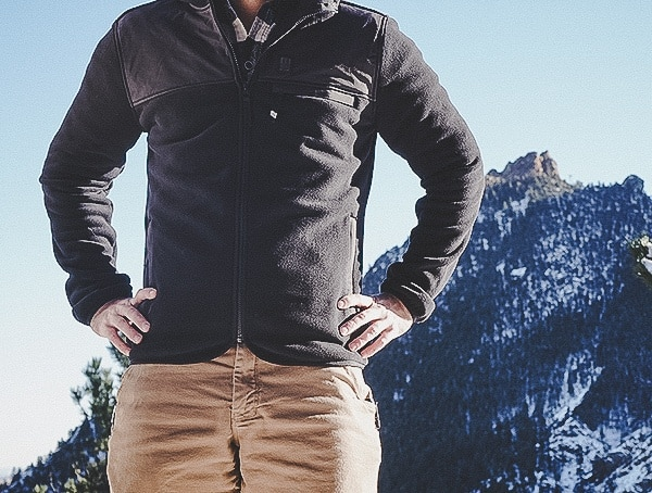 Mens Navy Fleece Hoodie Topo Designs Review Front Zippere Closed
