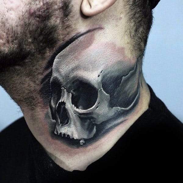 Mens Neck Black And White Skull Tattoo