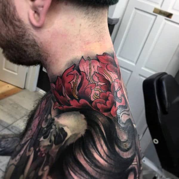 Mens Neck Interesting Tattoo Of Oriental Flower And Skull Tattoo