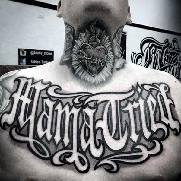 Mens Neck Sacred Heart Tattoo