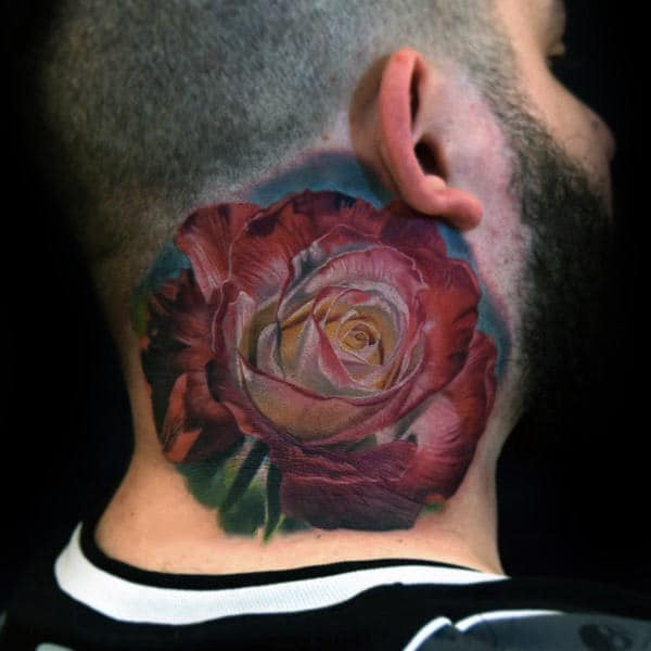 Mens Neck Tattoo Of Red Watercolor Realistic Rose Flower