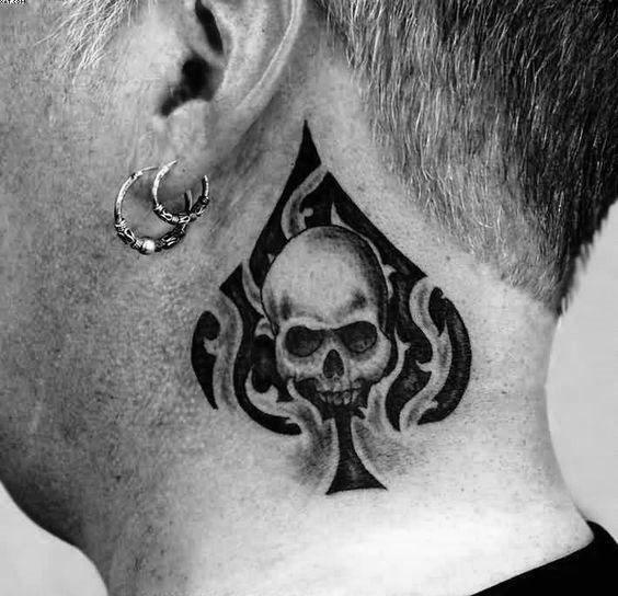 Mens Neck Tattoo With Tribal Ace Of Spades Skull Design