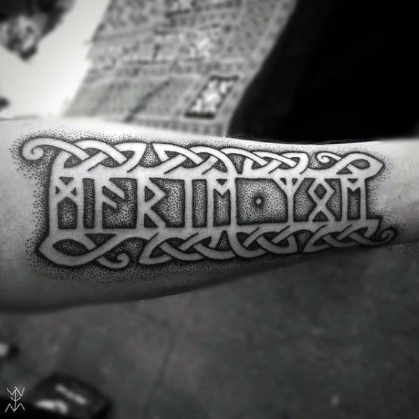 Mens Negative Space Celtic Rune Tattoos On Arm