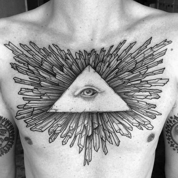 Mens Negative Space Eye Of Providence 3d Upper Chest Tattoo