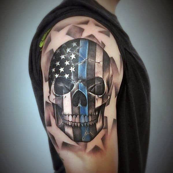 Mens Negative Space Stars And Skull Thin Blue Line Quarter Sleeve Tattoo