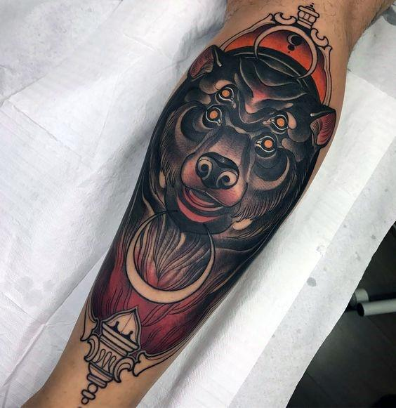 Mens Neo Traditional Bear Tattoo Ideas
