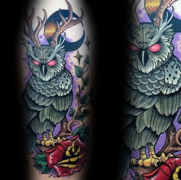 Mens Neo Traditional Owl Tattoo Designs