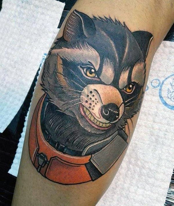 Mens Neo Traditional Raccoon Astronaut Leg Calf Tattoos