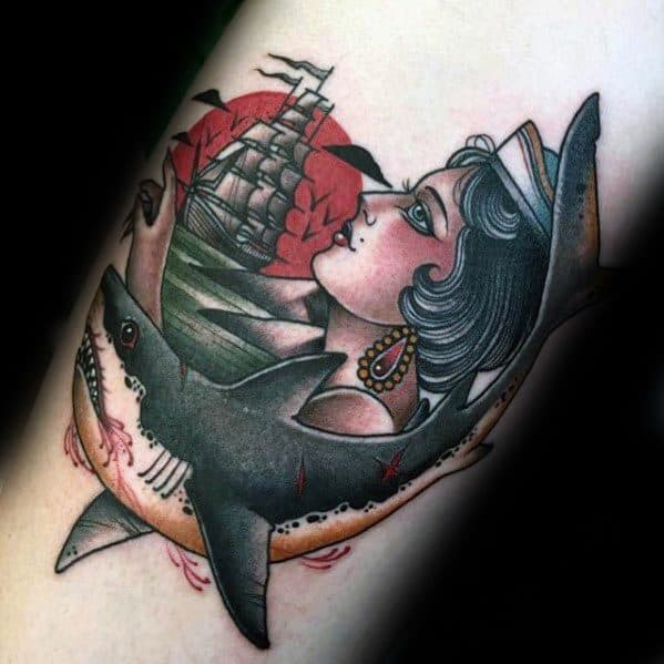 American traditional shark tattoo