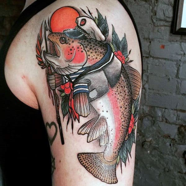 Mens Neo Traditional Trout Sailor Themed Arm Tattoo