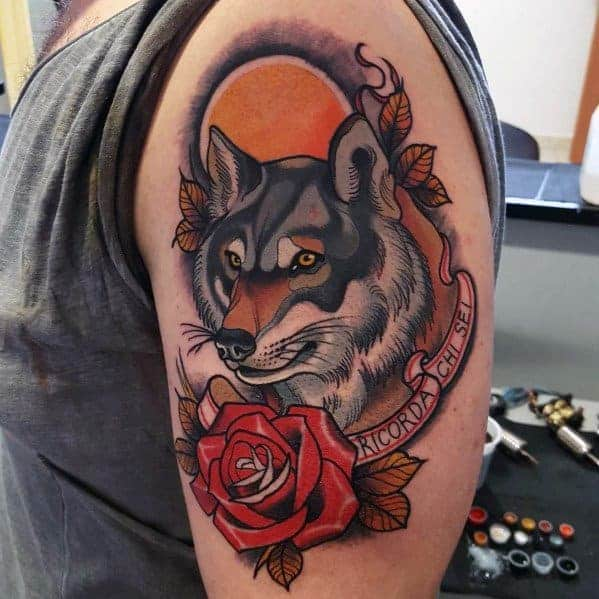 mens-neo-traditional-wolf-tattoo-ideas