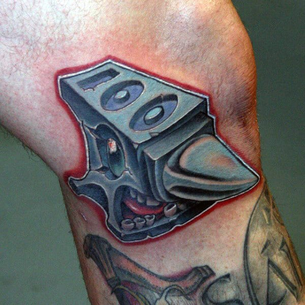 Mens New School Anvil Knee Tattoo