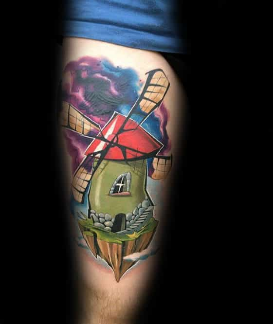 Mens New School Colorful Windmill Tattoo On Thigh