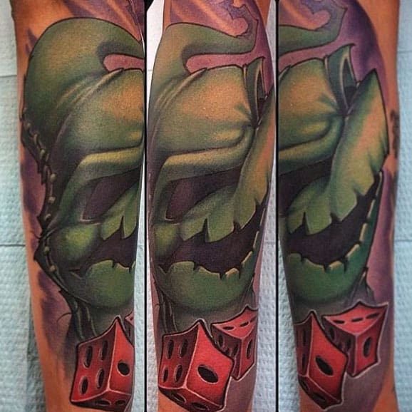 Mens New School Night Before Christmas Oogie Boogie Forearm Tattoo