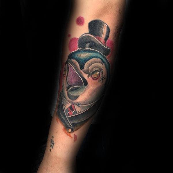 Mens New School Penguin Forearm Tattoos