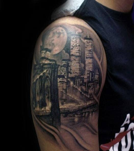 Mens New York City At Night City Skyline Quarter Sleeve Tattoos