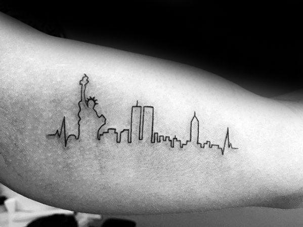 Mens New York Skyline Outline Arm Tattoo Design Inspiration