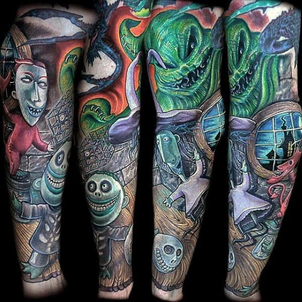 Mens Night Before Christmas Full Sleeve Tattoo Designs