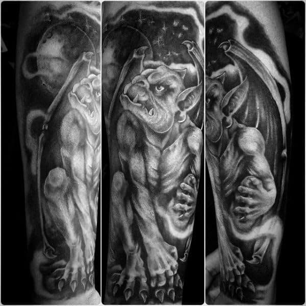 Mens Night Sky Gargoyle Forearm Sleeve Tattoo Designs