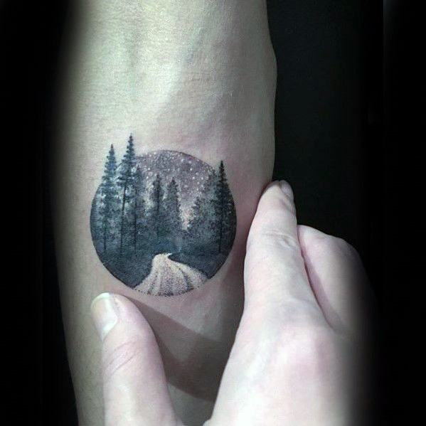 Mens Night Sky With Road And Forest Of Trees Simple Forearm Tattoo